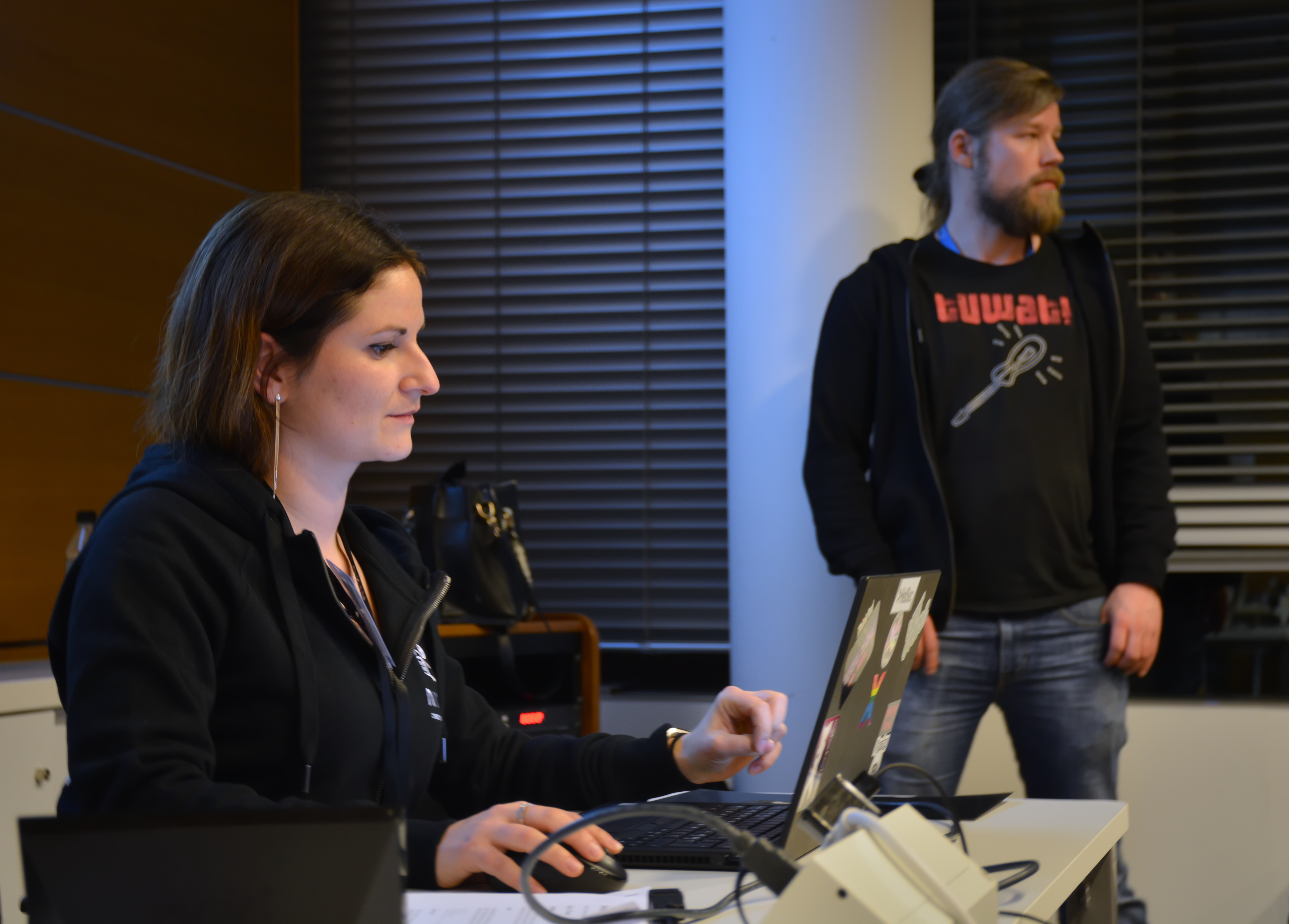 Flavia and Antti are demonstrating Splunk usage for the participants