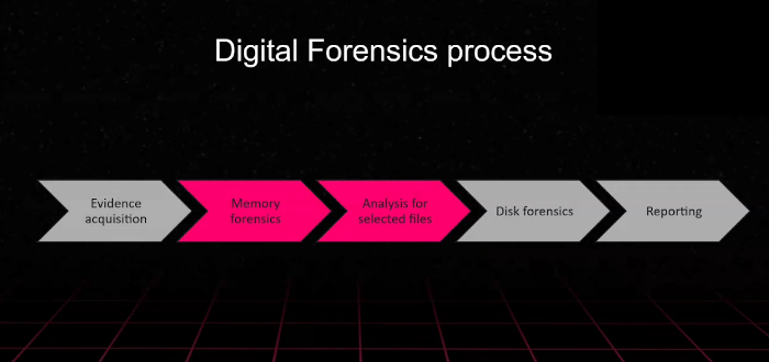 The digital forensic process consists of five steps: evidence acquisition, memory forensics, analysis of selected files, disk forensics, and reporting.